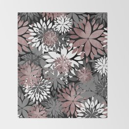Pretty rose gold floral illustration pattern Throw Blanket