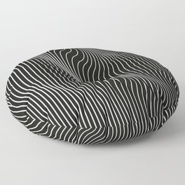 Minimal curves black Floor Pillow