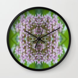 Kaleidoscope Pink Milkweed Flower Macro Photograph Wall Clock