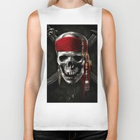 pirate Biker Tanks featuring PIRATE by Acus