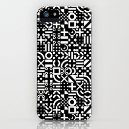 Black and White Irregular Geometric Pattern Print Design iPhone Case