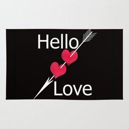Hello love! Black background . Rug