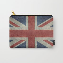 UK Flag, Dark grunge 3:5 scale Carry-All Pouch