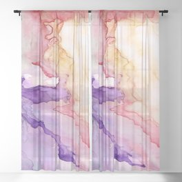Color My World Watercolor Abstract Painting Sheer Curtain