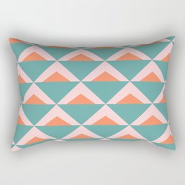 Colorful Triangle Pattern in Teal, Pink, and Orange Rectangular Pillow