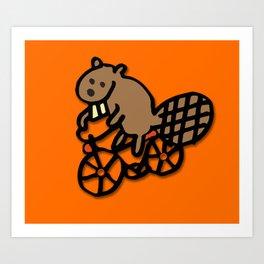 Beaver Rides a Bike! Art Print