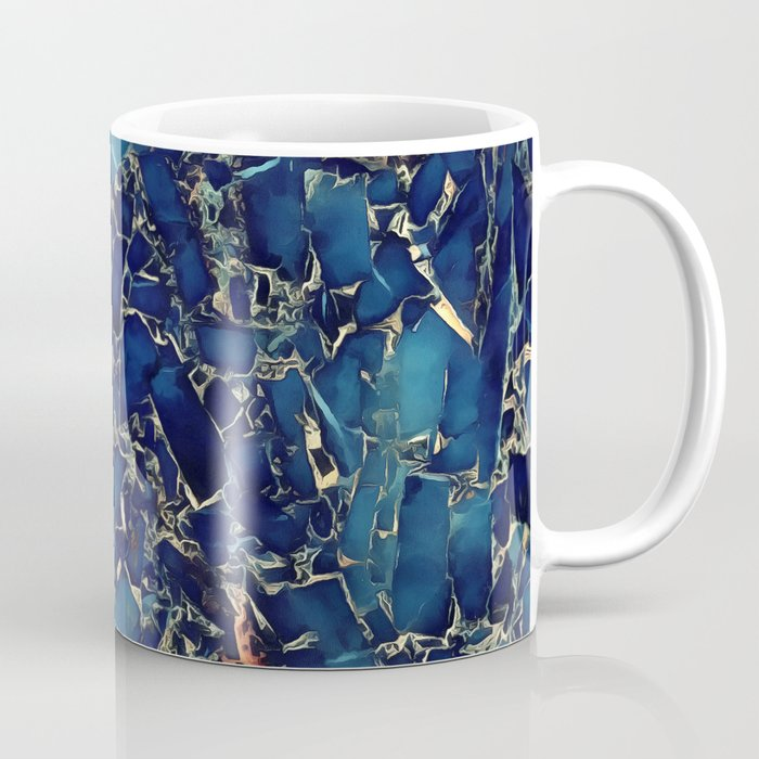 Dark blue stone marble abstract texture with gold streaks Coffee Mug