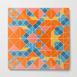 Tangram tiles in orange Metal Print