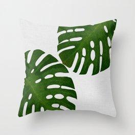 Monstera Leaf II Throw Pillow