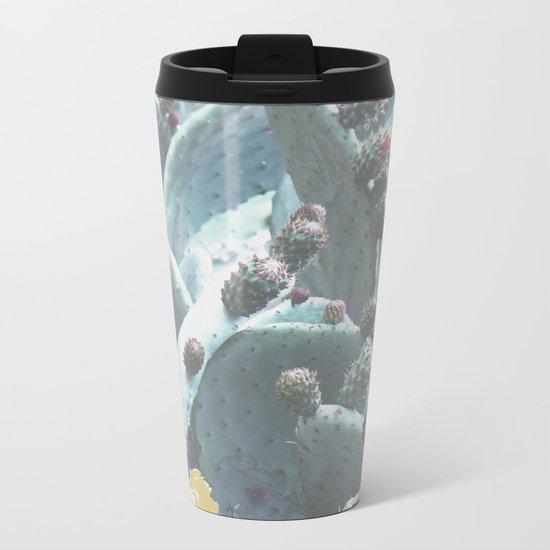 Green Flowering Cacti Metal Travel Mug