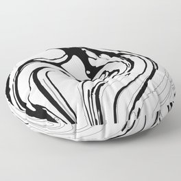 Black, White and Graphic Paint Swirl Pattern Effect Floor Pillow