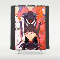 evangelion Shower Curtains featuring Evangelion Kids by minthues