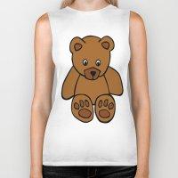 teddy bear Biker Tanks featuring Teddy Bear by ArtSchool