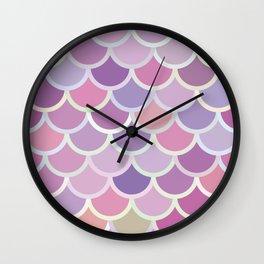 Purple Mermaid Pattern Wall Clock