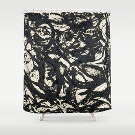 A black and white Jackson Pollock style art digitally vectorised Shower Curtain