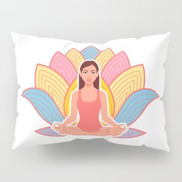 cute girl in meditation pose Pillow Sham