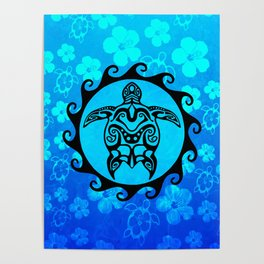 4f4dcb7797815 Black Tribal Turtle And Hibiscus Poster