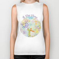 le petit prince Biker Tanks featuring Le Petit Prince- The little Prince flying by Colorful Simone