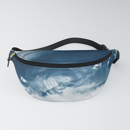 Building the Universe:  A minimal abstract acrylic painting in blue and white by Alyssa Hamilton Fanny Pack