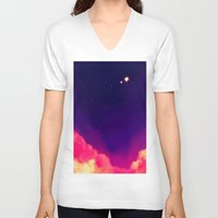 night sky V-neck T-shirts featuring Night Sky by Miki Draw