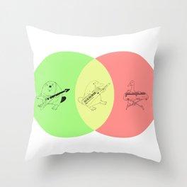 Keytar Platypus Venn Diagram - GYR Throw Pillow