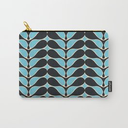 Retro wavy pattern. Blue and Black. Carry-All Pouch