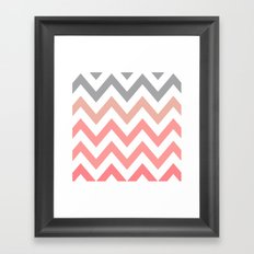 CORAL FADE CHEVRON Framed Art Print