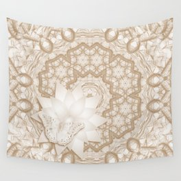 Butterfly on mandala in iced coffee tones Wall Tapestry