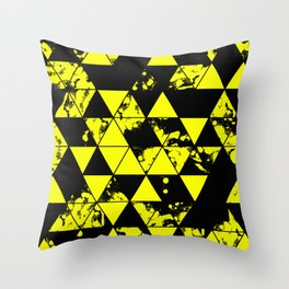 Splatter Triangles In Black And Yellow Throw Pillow
