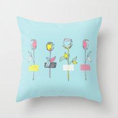 Rosewall (on blue) Throw Pillow