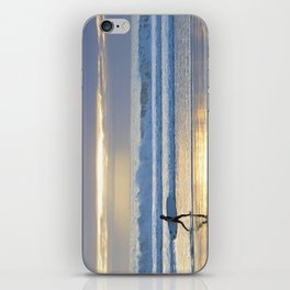 Surfing at sunset iPhone Skin
