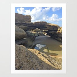 Coquina rock formations on beach Art Print