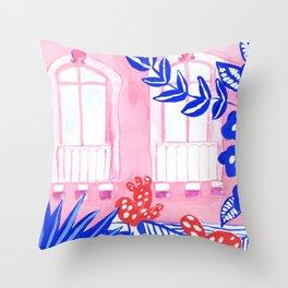 Syracuse, Sicily I // Facades City design serie // Gouache painting Throw Pillow