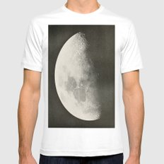 Black and White Moon MEDIUM White Mens Fitted Tee