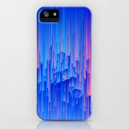 Glitchy Rain - Abstract Pixel Art iPhone Case