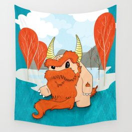 Graggy, the plump Happy Chaos Monster of Scotland Wall Tapestry