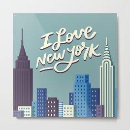 I Love New York Blue City Skyline Metal Print