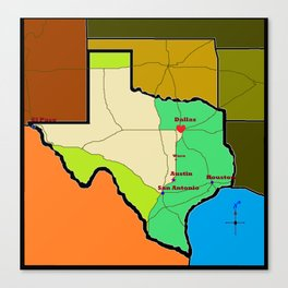 A Map of Texas with Waco on it Canvas Print