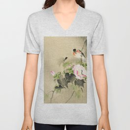 Bird sitting on a bush - Vintage Japanese Woodblock Print Art Unisex V-Neck