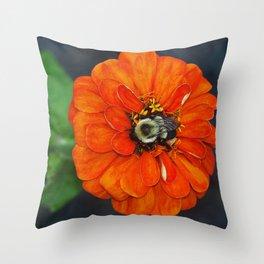 Orange Bumble Bee Flower Photography Throw Pillow