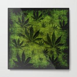Grunge Pot Leaf design Metal Print
