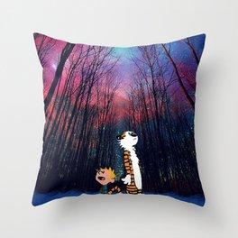 calvin and hobbes nebula night Throw Pillow