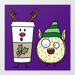 Reindeer Coffee Cup and Elf Donut Canvas Print