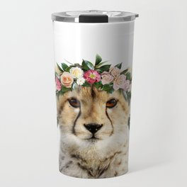 Baby Cheetah With Flower Crown, Baby Animals Art Print By Synplus Travel Mug