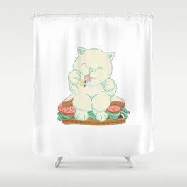 veggies cat Shower Curtain