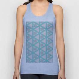 Bright Aqua White Multi Pattern Design Unisex Tank Top