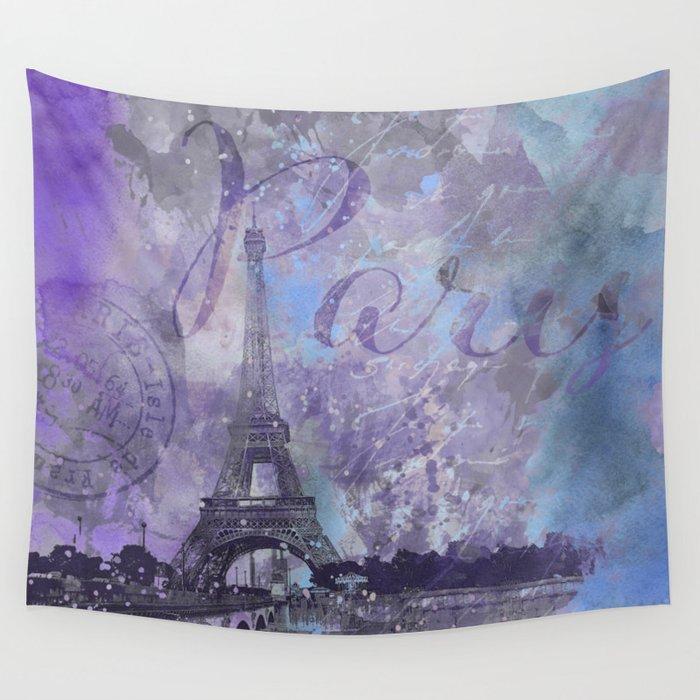 Purple Paris Watercolor Art Wall Tapestry