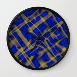 Bright metal mesh with blue intersecting diagonal lines. Wall Clock