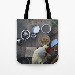 Learning to Cook from Above Tote Bag