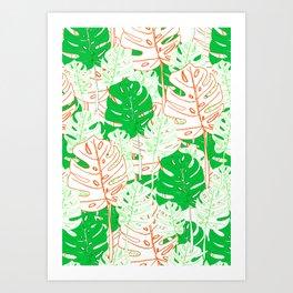 Banana Leaf in Coral Art Print